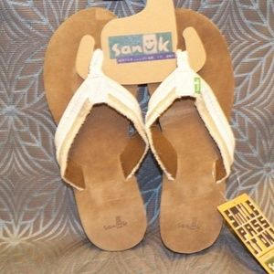 SANUK Fraidy Wedge Tan Sandal Womens New